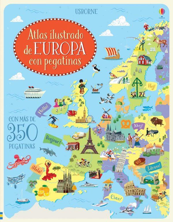 Libro atlas de Europa con pegatinas