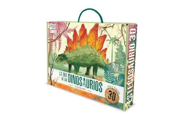 libro y maqueta en 3d de un dinosaurio