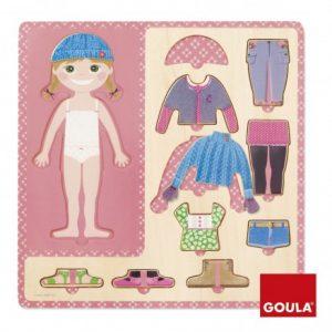Puzzle de madera vestir niña