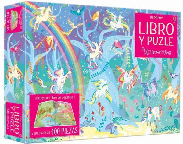 libro y puzzle unicornios