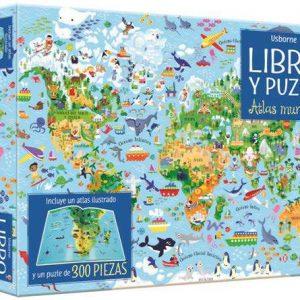 libro y puzzle atlas mundial